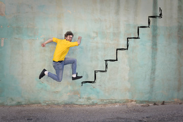 Jumping on a steep staircase