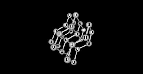 Uranium molecular structure isolated on black