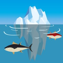 Fish under iceberg in ocean