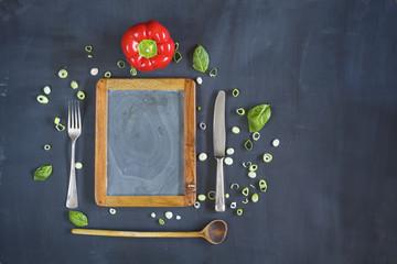Restaurant food menu, template design flat lay. Good copy space