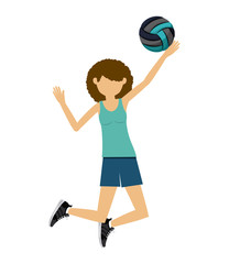 female athlete practicing volleyball  isolated icon design, vector illustration  graphic