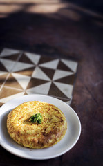 spanish tortilla egg omelette traditional tapas snack rustic sty