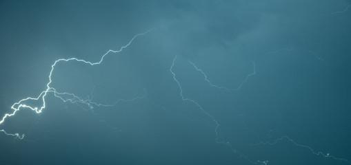 Panoramic photograph lightning flashes