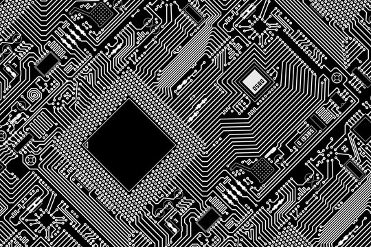 Graphic industrial circuit board black background