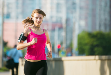 woman running in the city