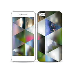 Mobile smartphone with an example of the screen and cover design isolated on white. Abstract colorful polygonal background, natural landscapes, geometric, triangular style vector illustration.