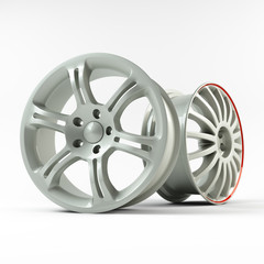 Aluminum white wheel image 3D high quality rendering.