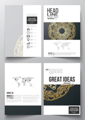 Set of business templates for brochure, magazine, flyer, booklet or annual report. Golden microchip pattern on dark background, mandala template with connecting dots and lines, connection structure