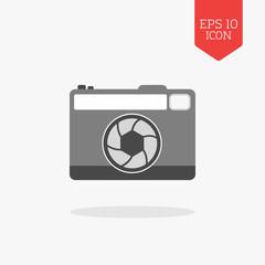 Photo camera icon. Flat design gray color symbol. Modern UI web
