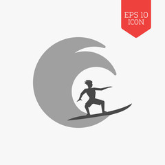 Surfer icon. Flat design gray color symbol. Modern UI web naviga