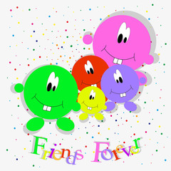 Happy Friendship Day celebration concept with round little people of different colors on a colored background