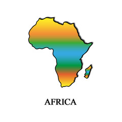 Map of Africa color on a white background