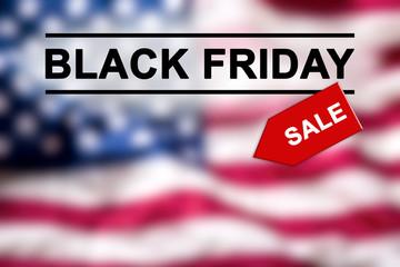 Black Friday text on blurred USA Flag.