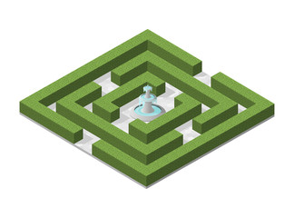 Isometric High Quality City Element with 45 Degrees Shadows on White Background. Garden