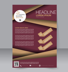 Corporate business flyer brochure design template. To be used for magazine cover, business mockup, education, presentation, report. Red and brown color.