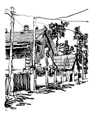 black and white digital graphic of village composition with hous