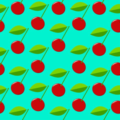Red cherry seamless pattern on the green background