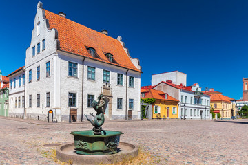 Ancient square in the city of Kalmar, Sweden