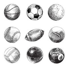 Sport balls vector sketches
