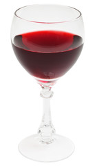 Glass filled by red wine on white background