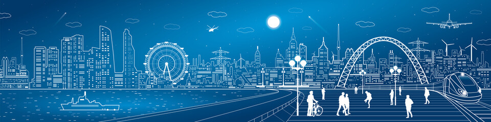 Amazing infrastructure and transport panorama. Train move, railway station, town square, people walk, ships on the water, night city skyline, arch bridge, airplane fly, vector design art