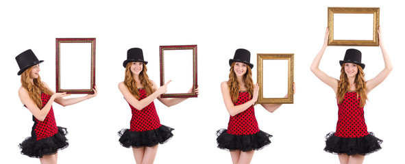 Pretty girl in red polka dot   dress with picture frame  isolate
