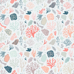 seamless vector pattern with sea life objects