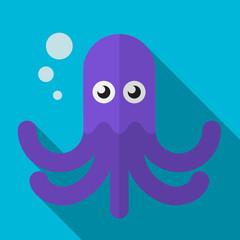 Octopus flat icon illustration