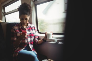 Young woman using mobile phone in train