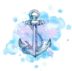 Anchor and blue watercolor blots.