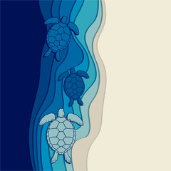 Underwater background with the sea turtles. Vector illustration.