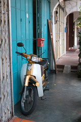 Motorbike parked in five foot way of Georgetown, Penang, Malaysia