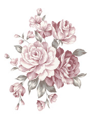 watercolor illustration bouquet in simple white background