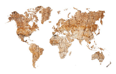 World map - continents from dry deserted soil