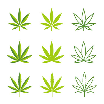 Marijuana leaves vector icons