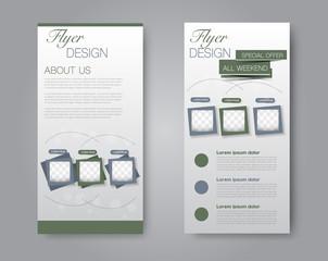 Vector flyer and leaflet design. Set of two side brochure templates.