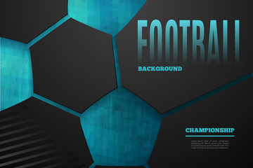 Abstract football background with place for the text on dark background. Football chempionship vector illustration.