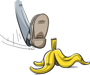 A cartoon foot about to step and slip on a discarded yellow banana peel lying on the ground.