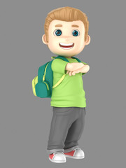 3d illustraion of cute blonde little boy confident and proud wearing bag
