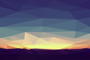 Sunset in polygonal style with mounting. Vector illustration