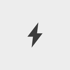 Lightning icon in a flat design in black color. Vector illustration eps10