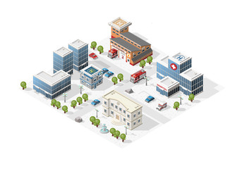 Set of Isolated High Quality Isometric City Elements on White Background.