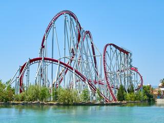 Roller coaster at funfair