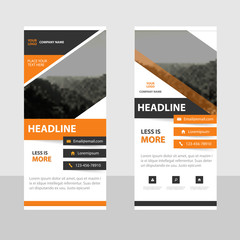 Orange Abstract square Business Roll Up Banner flat design template ,Abstract Geometric banner template Vector illustration set, abstract presentation template