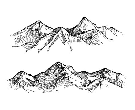 Hand drawn vector illustration - mountains. Sketch style