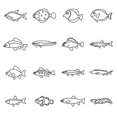Cute fish icons set in outline style. Sea set collection isolated vector illustration