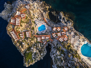 Top View of a Pool in a Rocks