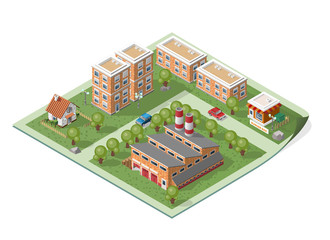 Set of Isolated High Quality Isometric City Elements on a Map.