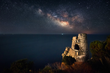 Old fortress in the night under the milky way
