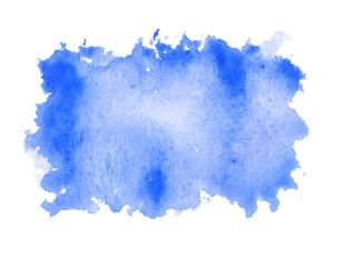 blue water color paint rough square shape texture on white backg